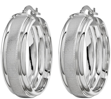 Polished and Brushed Hoop Earrings, 14K