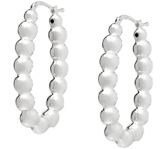 UltraFine Silver Polished Beads Hoop Earrings - J340523