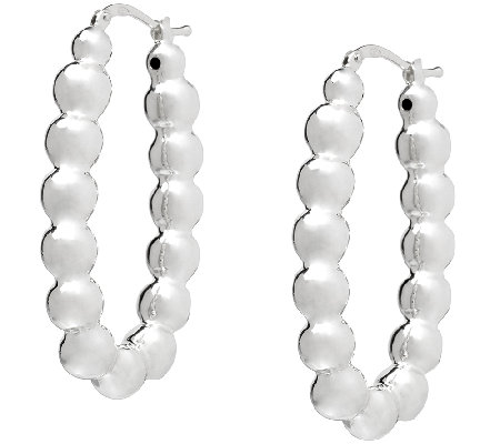 UltraFine Silver Polished Beads Hoop Earrings