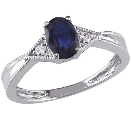 6/10 ct Sapphire & Diamond Ring, 14K White Gold