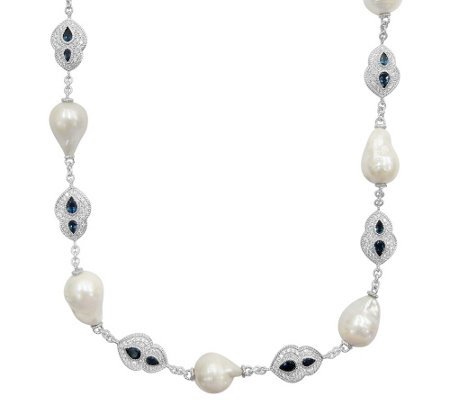 Judith Ripka 15 Pearl, London Blue Topaz & DMQNecklace