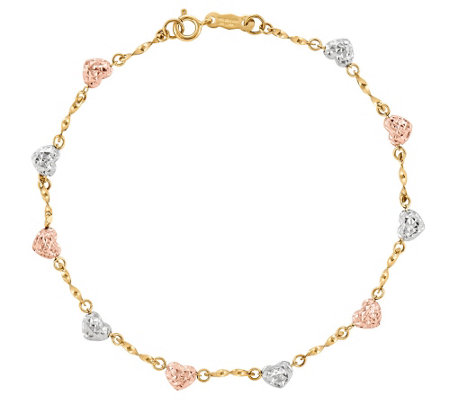 "Tri-Color Diamond Cut Heart 7"" Bracelet, 14 K Gold"