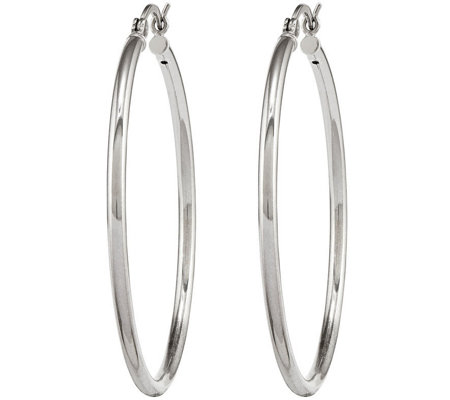 Sterling Silver Large Hoop Earrings by Silver Style