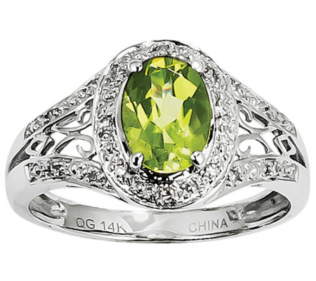 Oval Peridot and Diamond Accent Ring, 14K WhiteGold