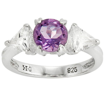 Sterling 1.30 tw Amethyst and Crystal Ring