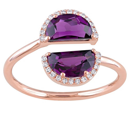 2 cttw Rhodolite and Diamond Accent Split Ring14K Rose Gold