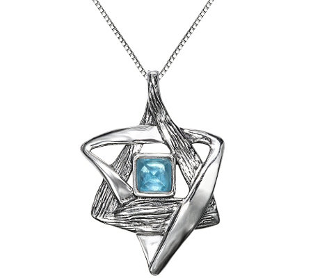 Hagit Sterling Star of David Gemstone Pendant w/ Chain