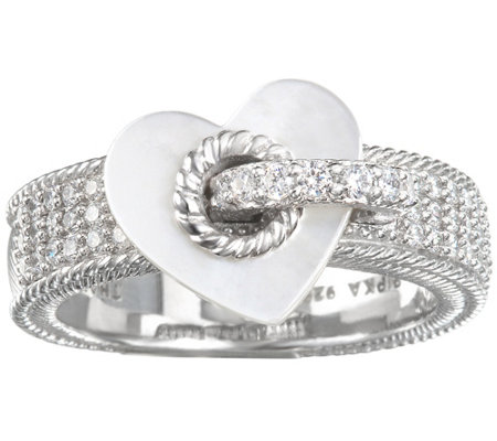 Judith Ripka Sterling Silver Pave with Heart Charm Ring