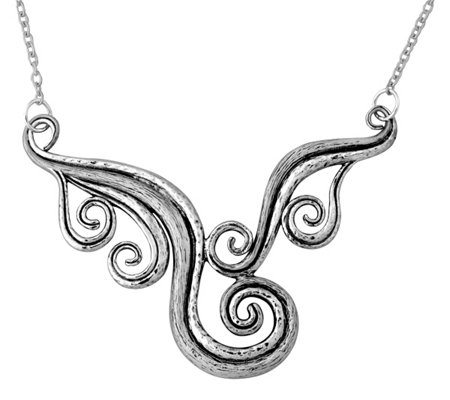 Sterling Silver Textured Swirl-Design Necklaceby Or Paz