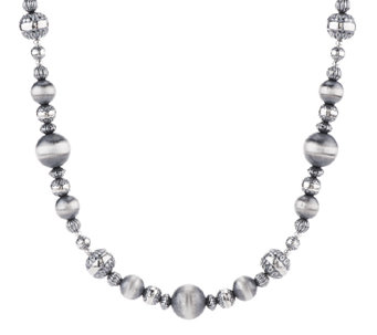 Sterling Silver Stamped Bead Necklace by American West - J343223