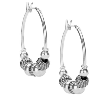 Sterling Silver Bead Hoop Earrings by AmericanWest
