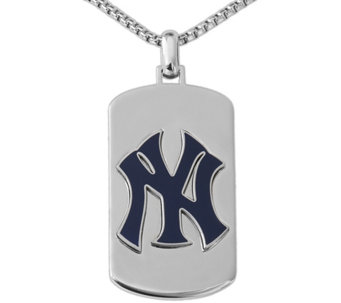 Men's MLB Yankees Stainless Steel Dog Tag withChain - J343723
