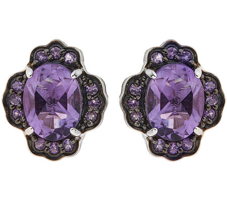 Sterling 3.00 cttw Amethyst Floral Earrings