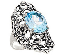 Or Paz Sterling Silver 5.00 Ct. Blue Topaz Filigree Ring - J346923