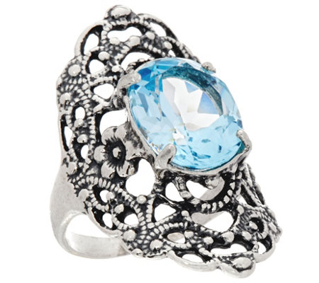 Or Paz Sterling Silver 5.00 Ct. Blue Topaz Filigree Ring
