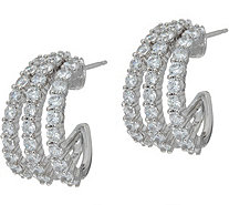 Diamonique Triple Row Split Hoop Earrings, Sterling - J347123
