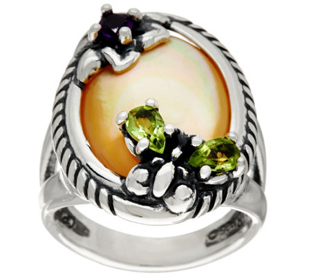 Carolyn Pollack Sterling Silver Golden Mother of Pearl Butterfly Ring