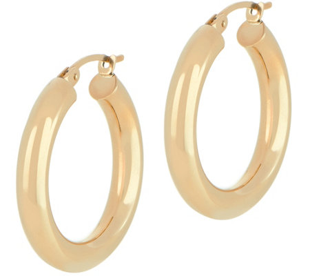 """As Is"" Dieci 1"" Polished Round Hoop Earrings, 10K Gold"