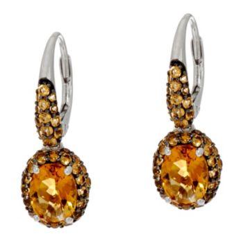 Oval Gemstone Sterling Drop Earrings 2.80 cttw
