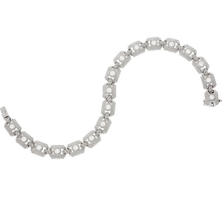 "Judith Ripka Sterling or 14K Clad 8"" Diamonique Tennis Bracelet"