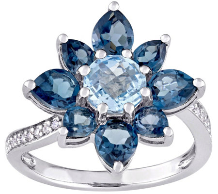 Laura Ashley Sterling 3.15 cttw Blue Topaz & Diamond Ring