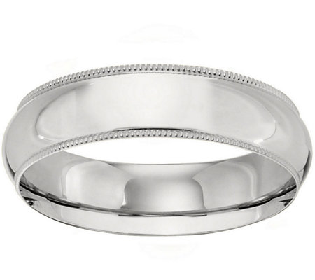 Men's 18K White Gold 6mm Milgrain Wedding Band