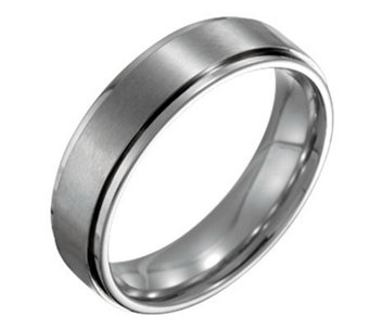 Forza Men's 6mm Steel w/ Ridged Edge SatinPolished Ring - J109524