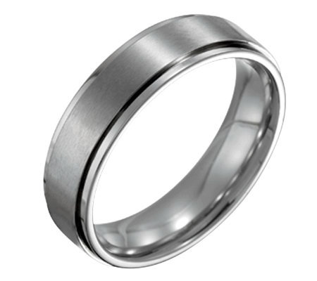 Forza Men's 6mm Steel w/ Ridged Edge SatinPolished Ring