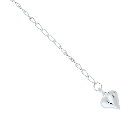 Sterling Anklet with Puffed Heart