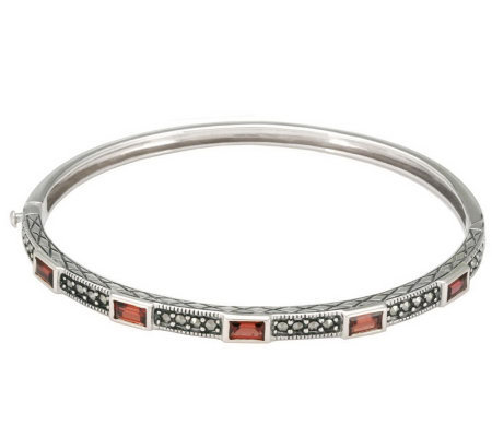 Suspicion Sterling Marcasite & Gemstone HingedBangle