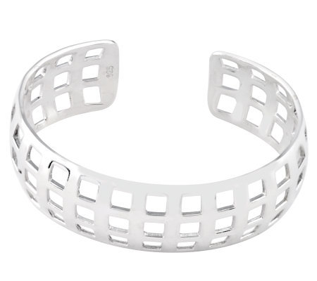 Sterling Polished Waffle Cut Cuff Bangle Bracelet