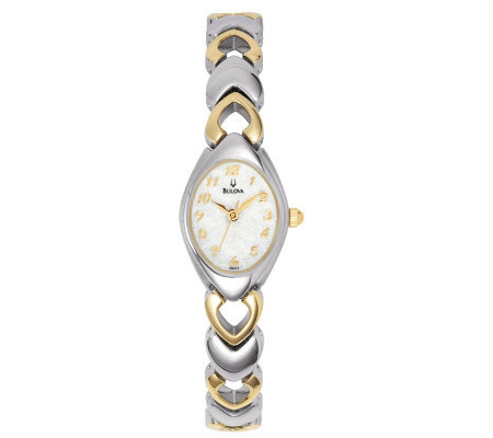 Bulova Women's Two-tone Bracelet Watch with White Dial