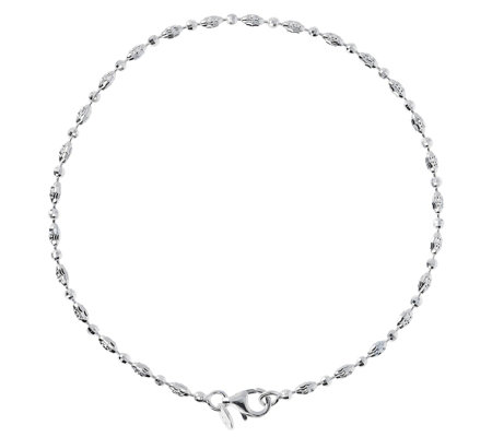 "UltraFine Silver 10"" Diamond-Cut Bead Anklet"