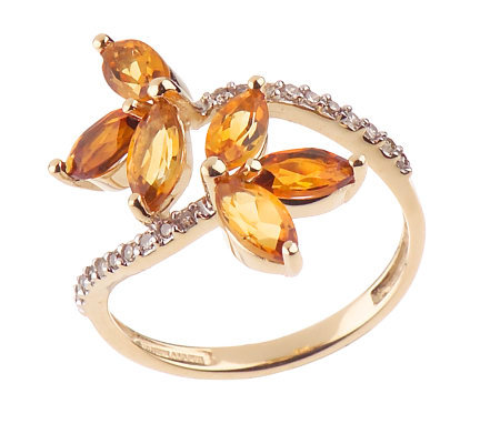 1.10 ct tw ColorsofCitrine & 1/10 ct tw Diamond Ring 14K Gold