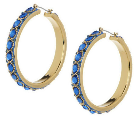 Wendy Williams Intricate Enamel & Facet Hoop Earrings