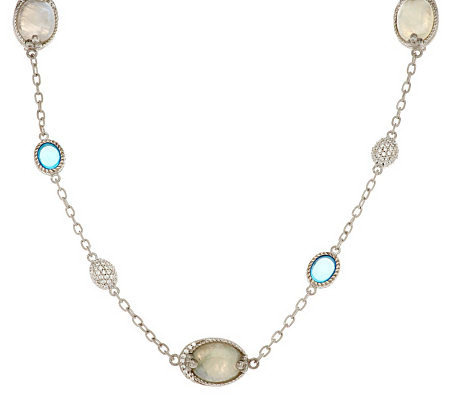 "Judith Ripka Sterling 18"" Gemstone & Pave Bead Station Necklace"