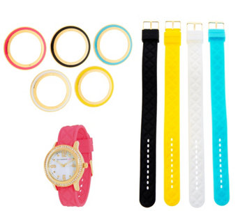 Isaac Mizrahi Live! Interchangeable Silicone Watch Set - J285824