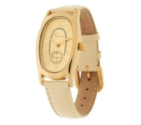 """As Is"" Veronese 18K Clad Oval Case Pebble Strap Watch"