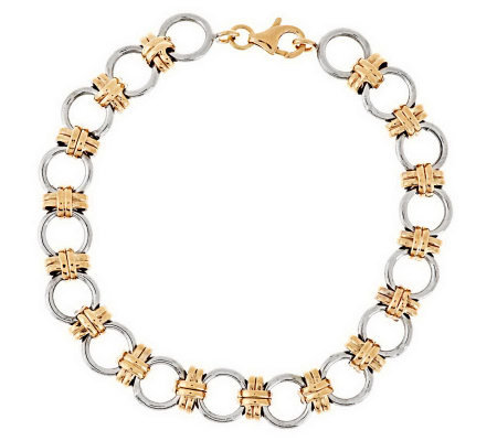 """As Is"" 7-1/4"" Round Status Link Bracelet, 14K Gold, 3.9g"