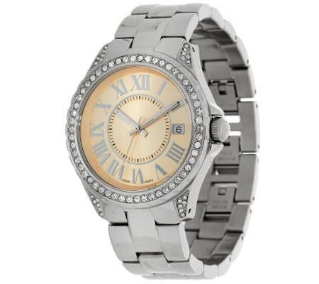 Stainless Steel Round Crystal Dial Bracelet Watch