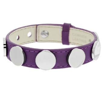 Stainless Steel Adjustable Leather Disc Bracelet - J290024