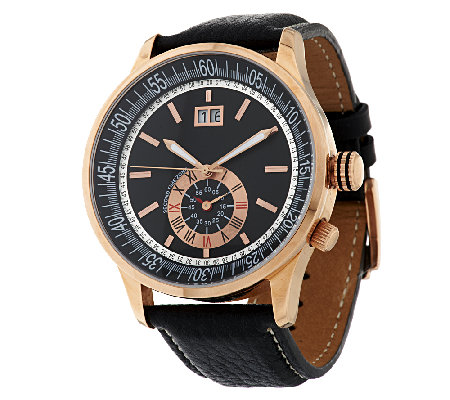 Bronze Bold Round Sub-Dial Leather Strap Watch by Bronzo Italia