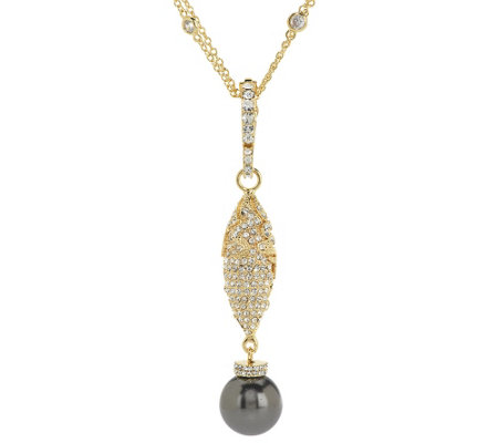 Doris Panos Simulated Pearl & Crystal Drop Enhancer with Chain