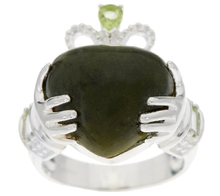 Connemara Marble and Sterling Silver Claddagh Ring w/Peridot