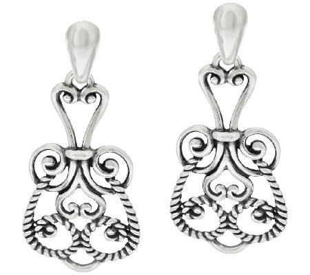 Carolyn Pollack Signature Sterling Scroll Design Drop Earrings