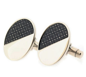 Forza Men's Steel and Black Oval Cuff links - J297224