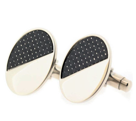 Forza Men's Steel and Black Oval Cuff links