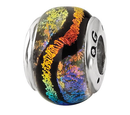 Prerogatives Sterling Rainbow and Black Dichroic Glass Bead