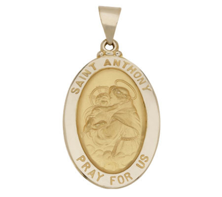 St. Anthony Oval Pendant, 14K Gold