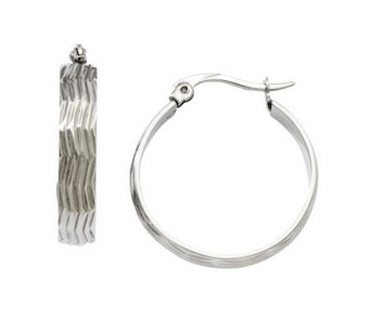 Stainless Steel Textured Wave Hoop Earrings - J308324